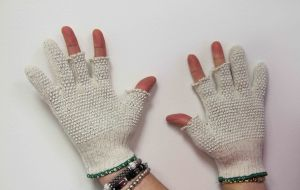 Nancy Odom's Quilters Gloves with the tips cut off