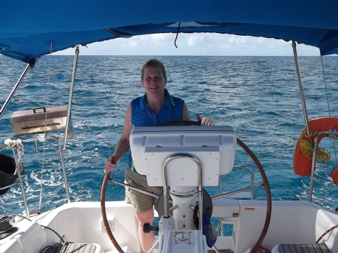 Captain Jennifer at the helm