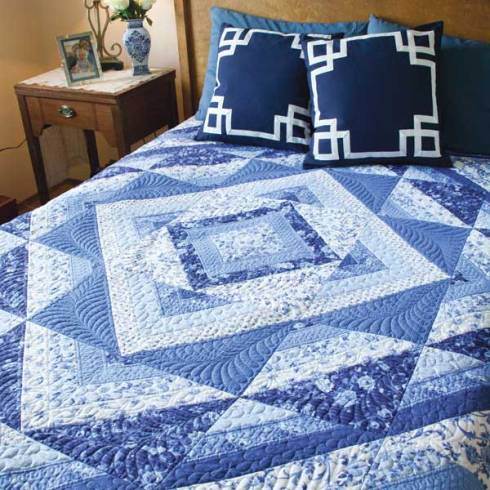 Patti's Painted Porcelain queen-size quilt