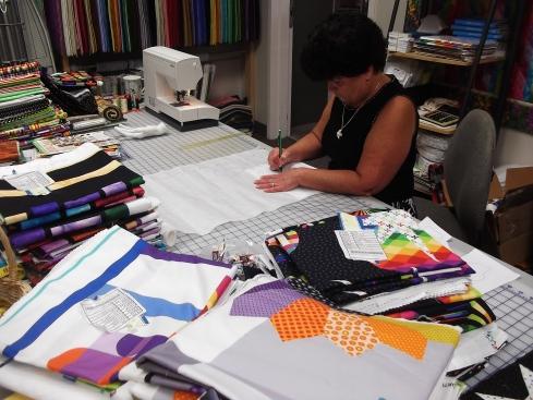 Susanne preparing the appliques