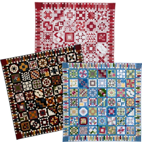 3 color options in Quiltmakers 100 Blocks mini sampler