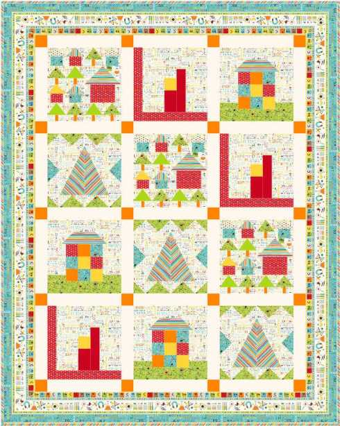 Quilt #2 - the 4 house blocks