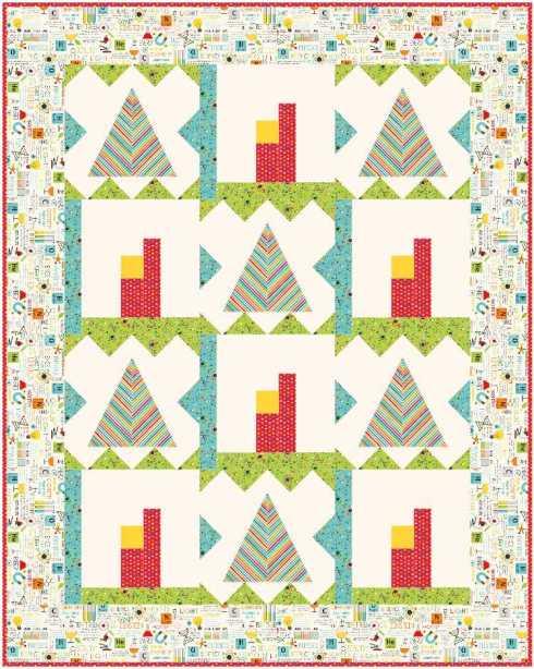 Quilt #5 - teepee & apartment with cream ground & non-stripe border