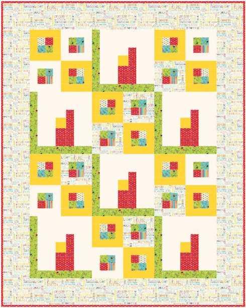 Quilt #6 - modular & apartment blocks with plainer border & solid cream ground
