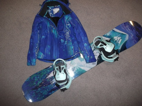 My new snowboard and my ski jacket - a match made in heaven