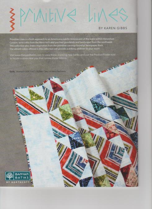 My PC217 Abstract pattern, shown on the back cover of McCall's Quilting June 2018!