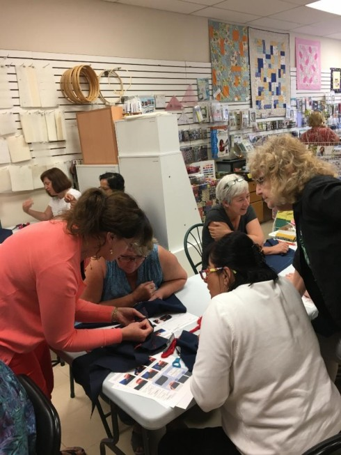 sashiko class June 2018 at SS&Q Barrie