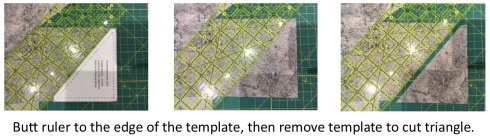 Butt ruler to the edge of the template