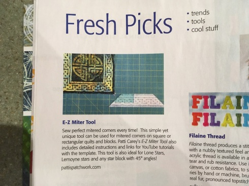 E-Z Miter tool featured in McCall's May-June '20 Fresh Picks lo-rez