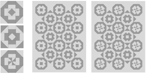 The positive and negative versions of Block 22, the similar disappearing pinwheel version and 2 on-point quilts showing these blocks
