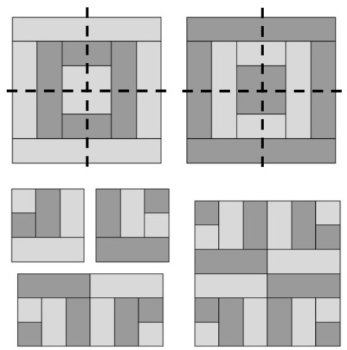 Slightly modified Block 15 cut into quadrants to make Block 20