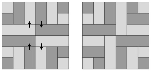 If you have directional fabric use the diagram on the left. For non-directional fabric arrange quadrants to offset seams as shown on right.