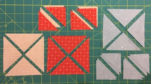 I had to cut my large and small squares diagonally