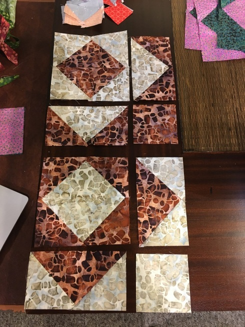 Sew 2 matching geese units into a square then sew the block together