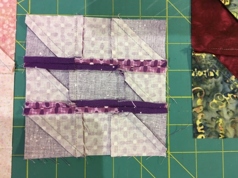 Rows 1 & 3 pressed toward the center, then horizontal seams pressed open