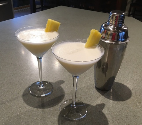Our daily cocktail for our Stay-at-Home-and-Cruise was a White Lady, garnished with pineapple