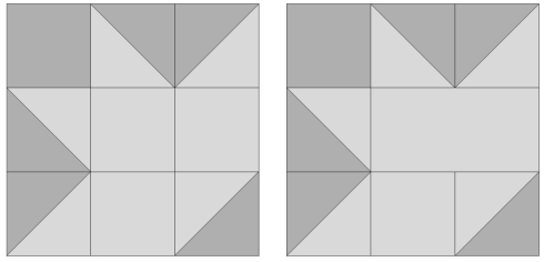 original Block 6 and my revised version replacing the 2 center squares with a rectangle