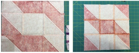 Shimmer - block 1 is pressed to the center, then top/bottom and block 2 is pressed all open