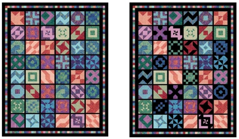 My original quilt with no black in the blocks and my revised version with some black - it's still a work-in-progress