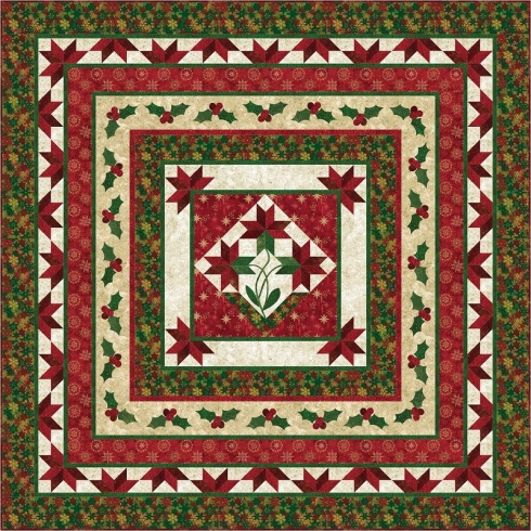 PC144 Poinsettia Medallion (includes wall and queen-size)