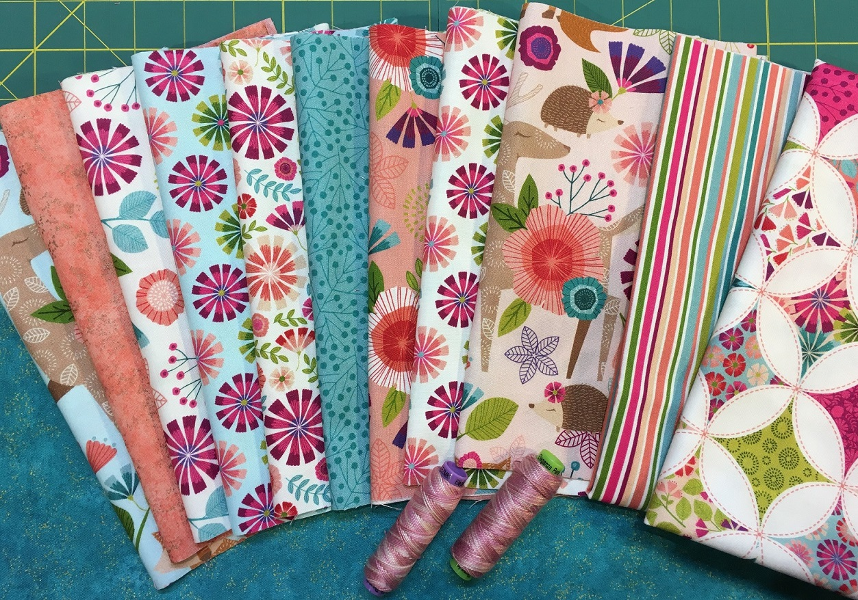 The Seven Treasures kit includes everything for the lap quilt top including sashiko thread