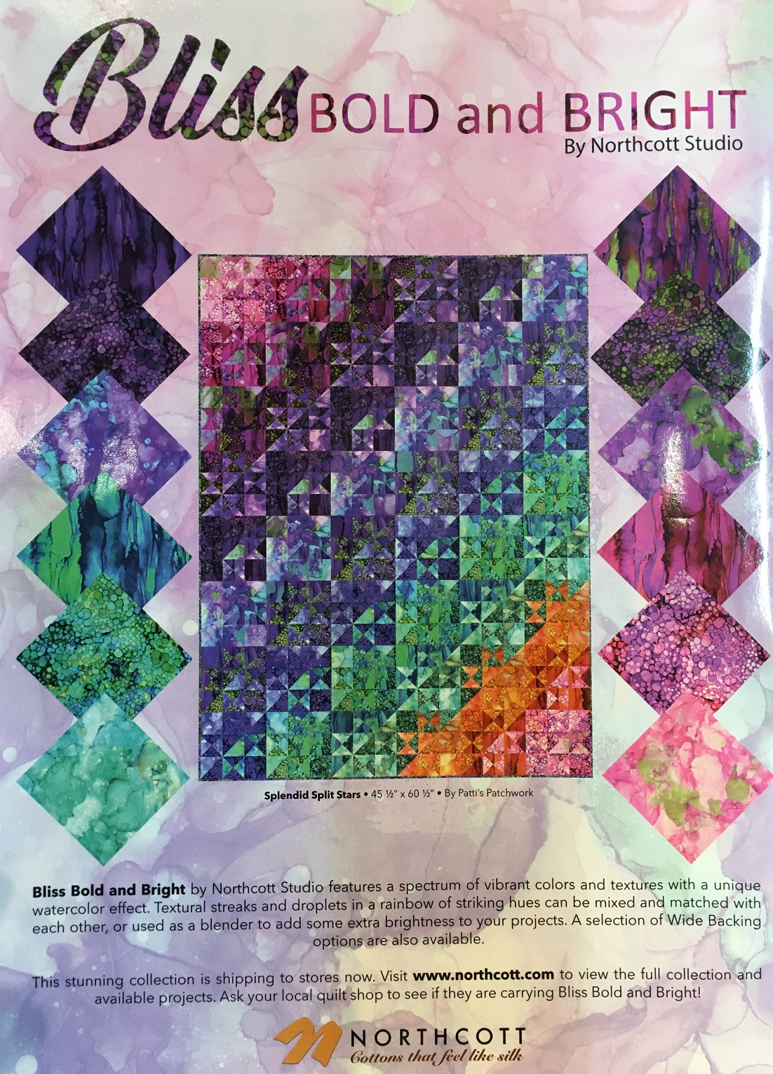PC253 Splendid Split Stars featured on the back cover of Quiltmaker magazine