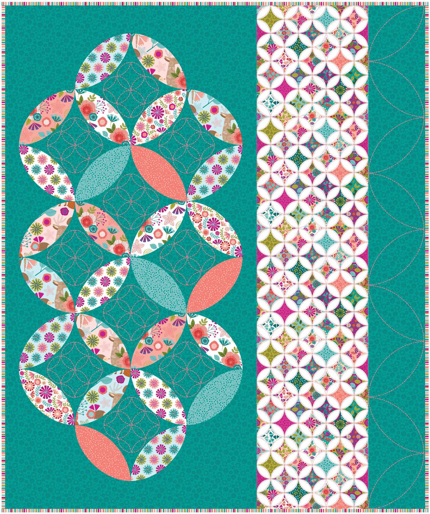 The oh-so-pretty Seven Treasures lap quilt featured in September Love of Quilting