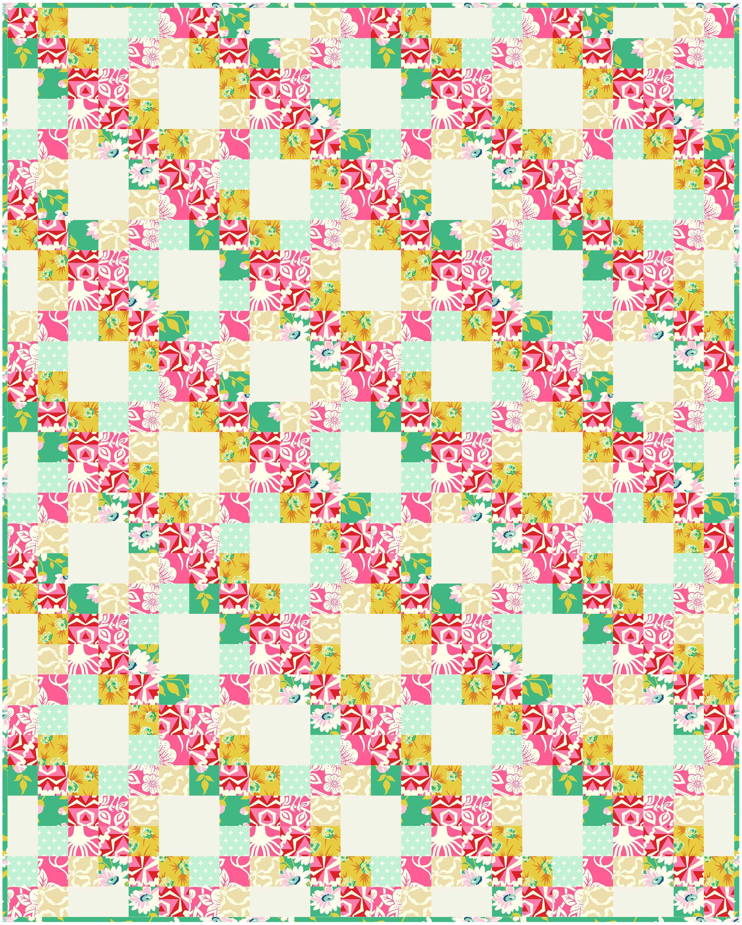 """A 36"""" x 45"""" lap quilt done up in True Kisses"""