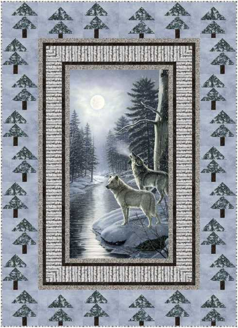 Howl, made with Northcott's Naturescapes - Silver Moon and featured in F&P Quick + Easy Quilts