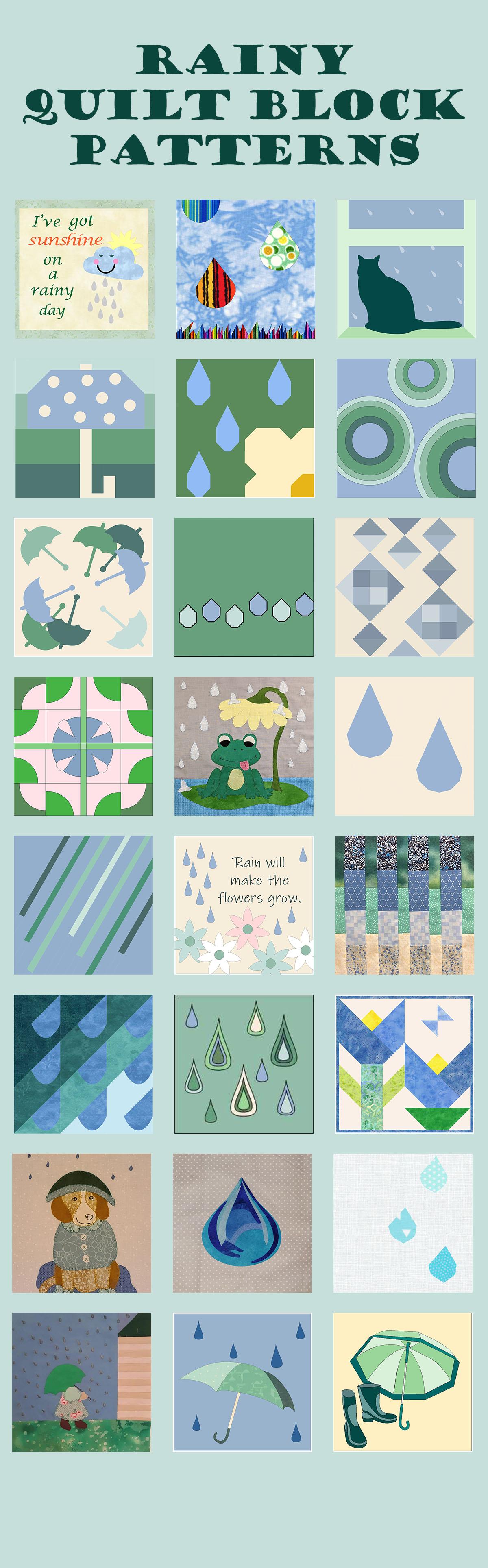 Quilt Block Mania Rainy block patterns