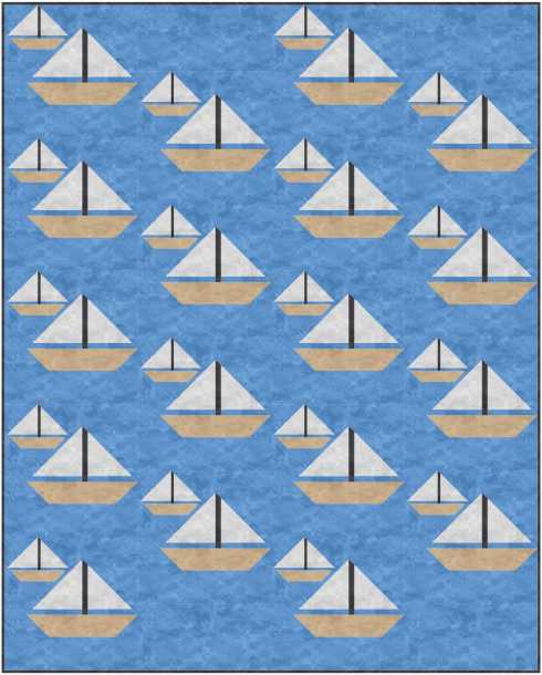 """On the Water block used in a 48"""" x 60"""" vertical strip quilt"""
