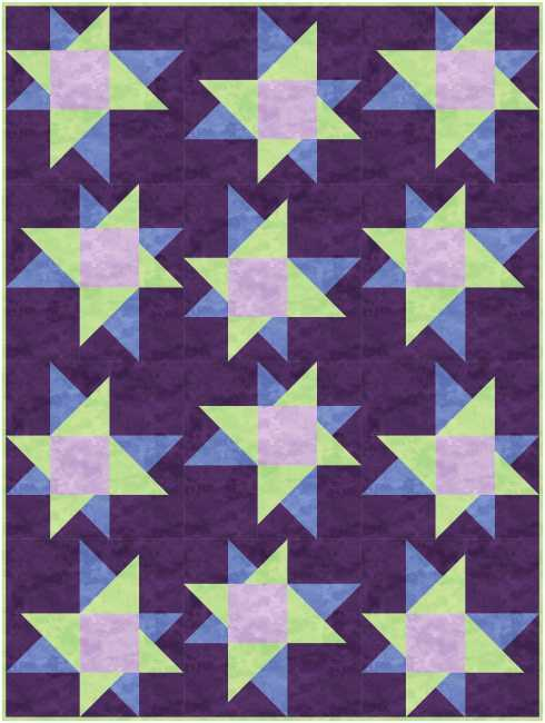 """12 blocks in a straight-set layout for a 36"""" x 48"""" lap quilt"""